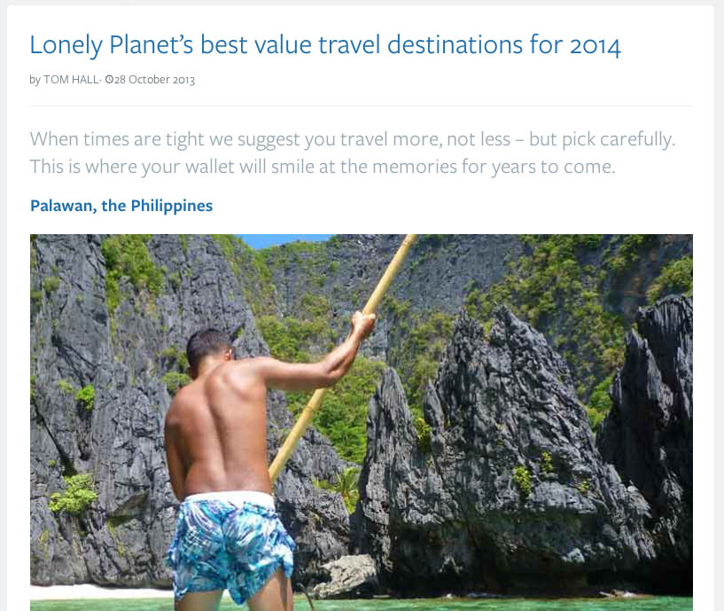 A screenshot of the Lonely Planet article