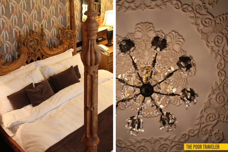 Left: A 4-post, king-size bed fit for royalty Right: Details of a chandelier