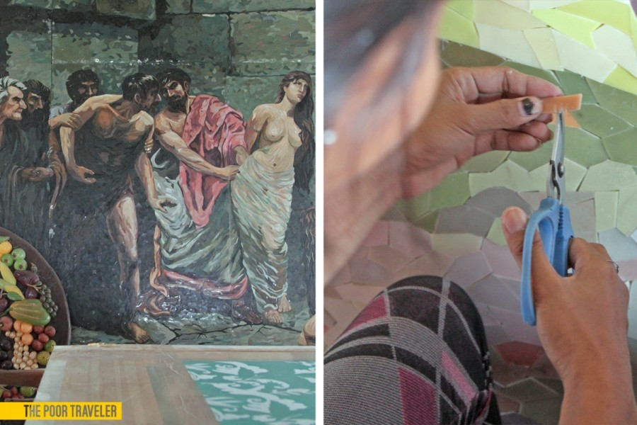 Left: A mosaic replica of Felix Resureccion Hidalgo's Las virgenes Cristianas expuestas al populacho Right: Colored fiberglass are cut into pieces to form the mosaic