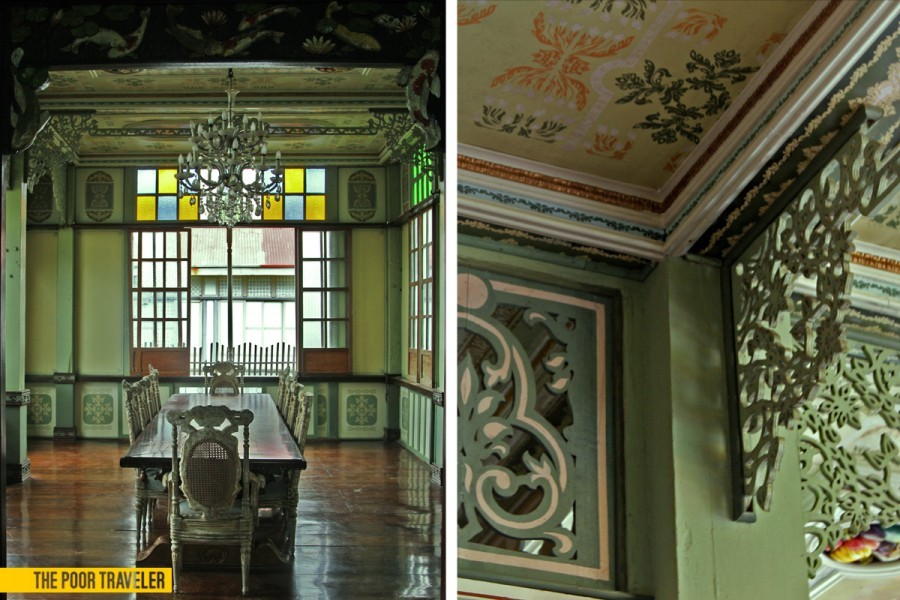 Left: The comedor (dining room) of Casa Lubao and its distinct green interior. Right: Details of the green interior