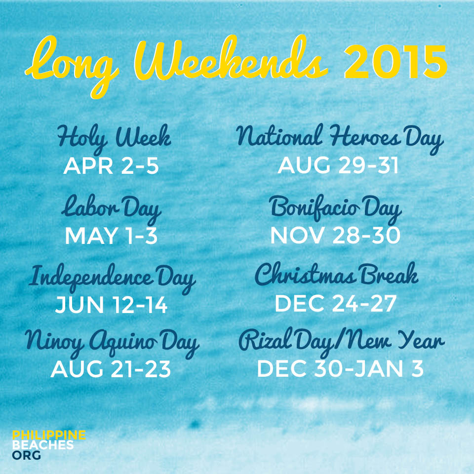 2015 Long Weekends Philippines