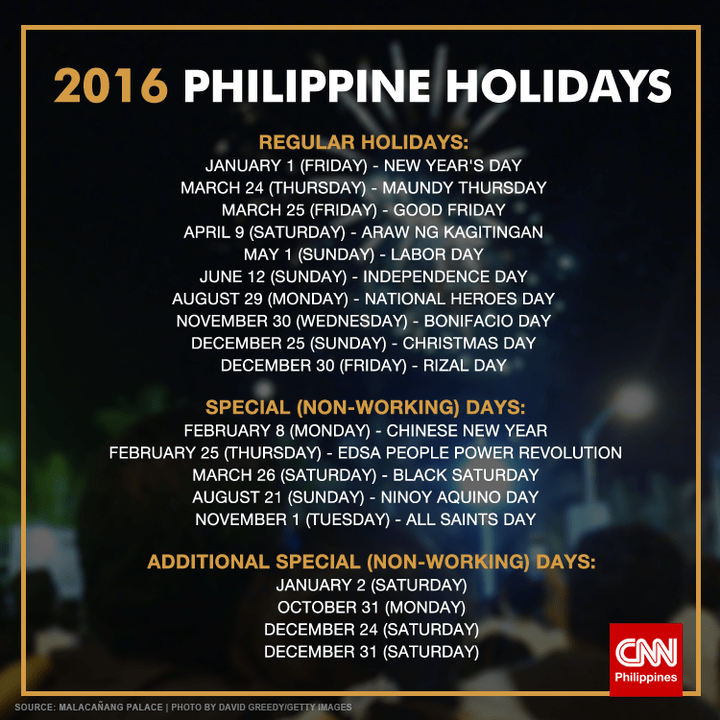 Holidays And Observances In Philippines In 2016 ...
